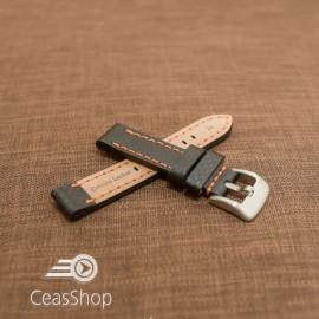 Curea piele fibra carbon neagra cusatura portocalie 24mm - 37019