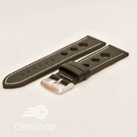 Curea piele GRAND PRIX neagra cusaturi albe 24mm - 36999
