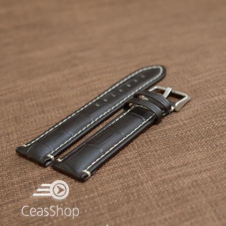 Curea piele vitel model crocodil cusaturi albe 24mm- 38085