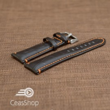 Curea piele vitel model crocodil cusaturi portocalii 24mm- 38082