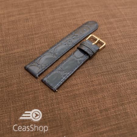 Curea piele vitel plata model crocodil Elegance albastra (Navy) 14mm - 34512