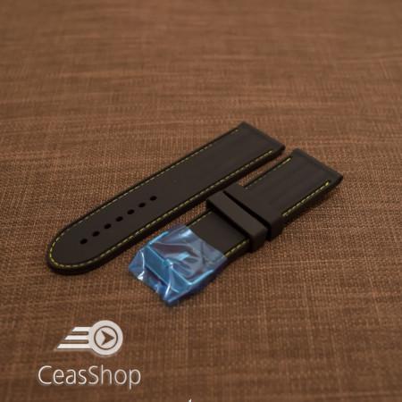 Curea silicon neagra cu cusaturi galbene 26mm - 38251