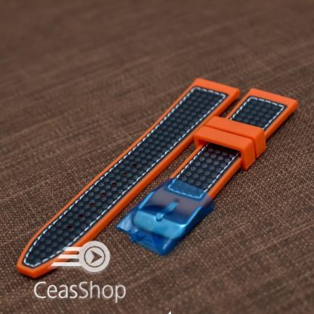 Curea silicon sport fibra carbon portocalie cu cusaturi albe 24mm - 38127