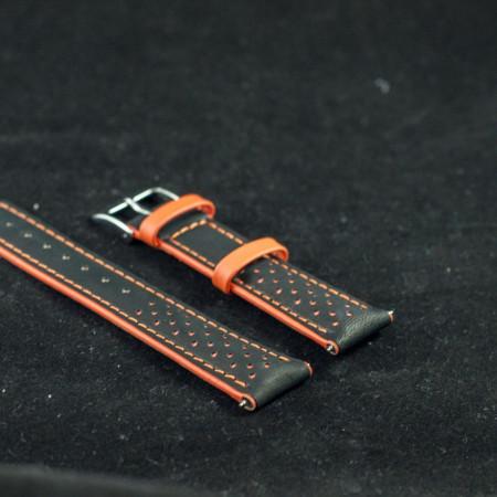 Curea sport doua tonuri neagra cu portocaliu, antialergica 22mm