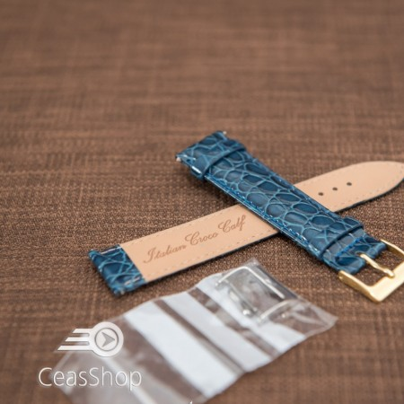 Curea model crocodil captusita albastră finisaj lucios 16mm - 46381