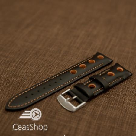 Curea piele GRAND PRIX captusită pe jumătate neagra cusaturi portocalii 24mm - 42208