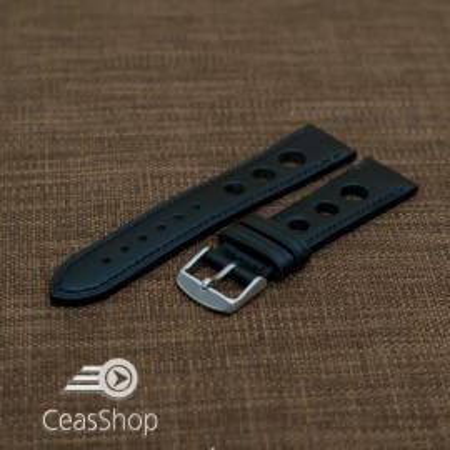 Curea piele GRAND PRIX neagra cusaturi negre 20mm - 36985