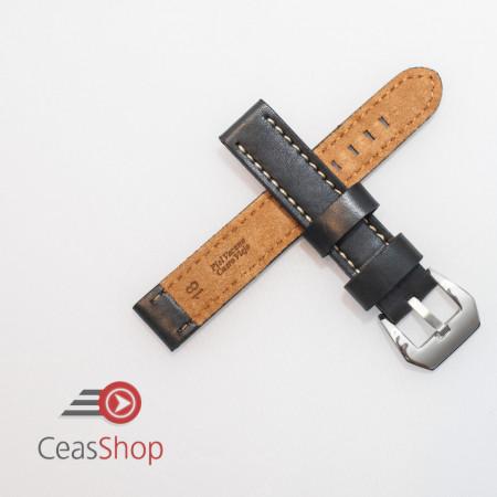 Curea piele neagră vintage QR, cusătură albă 22mm XL - 384EL12222