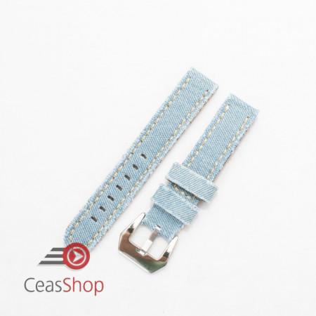 Curea piele si jeans bleu 18mm - 3901819