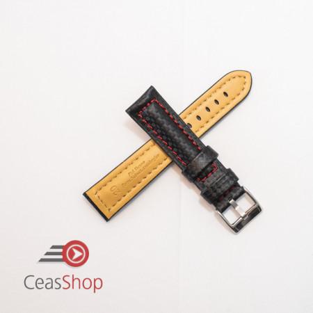 Curea piele tip fibra carbon neagră, cusătură roșie, căptușită 24mm - 3742416