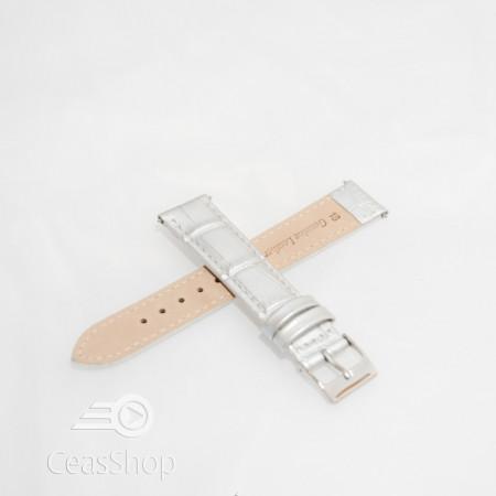Curea piele vitel argintie crocodil cu catarama argintie 16mm - 51316