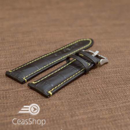 Curea piele vitel model crocodil cusaturi galbene 24mm- 38088