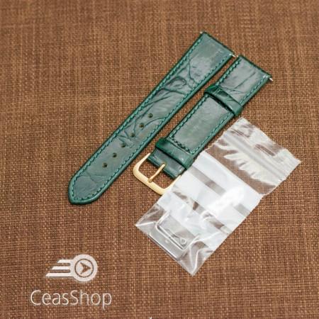 Curea piele vitel plata model crocodil Elegance verde 20mm - 34509