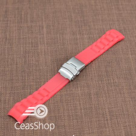 Curea silicon rosie capat curbat 20mm - 31848