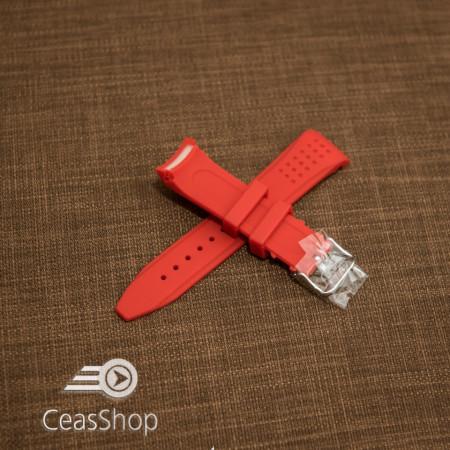 Curea silicon roșie capat curbat 22mm - 43393