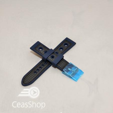 Curea silicon sport GRAND PRIX navy cusaturi negre 24mm - 38148