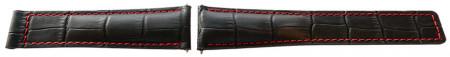 Curea tip Tag Heuer neagra cusătură roșie 22mm - 52531