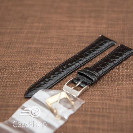 Curea model crocodil captusita neagră finisaj lucios 12mm - 46349
