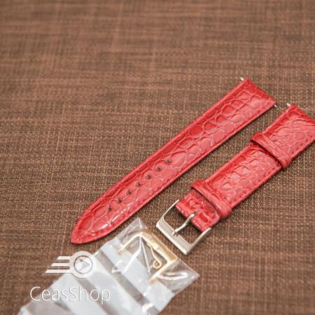 Curea model crocodil captusita rosie finisaj lucios 16mm - 46369