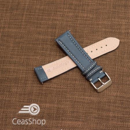 Curea piele albastra cu cusatura alba 24mm - 46398