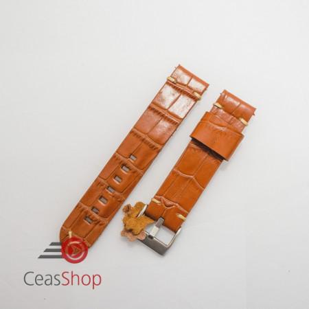Curea piele maro model crocodil vintage QR 24mm - 4030324