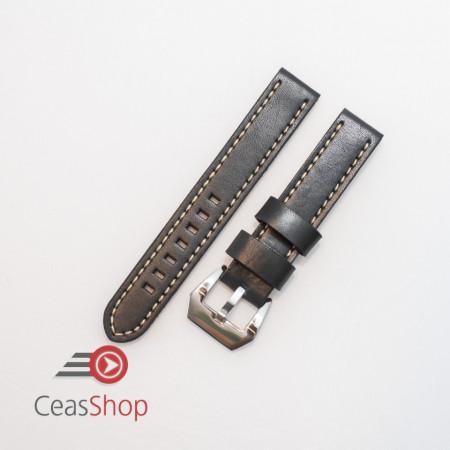 Curea piele neagră vintage QR, cusătură albă 24mm XL - 384EL12222