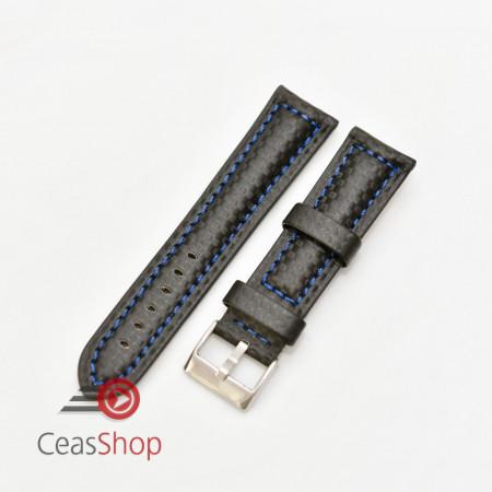 Curea piele tip fibra carbon neagră, cusătură albastră, căptușită 22mm - 3742215