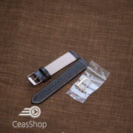Curea piele vitel handmade neagra XL 22mm -33619