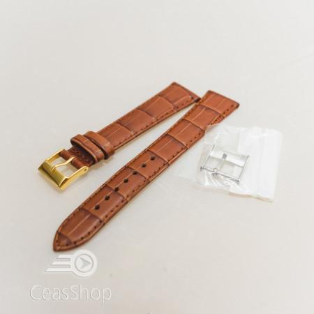 Curea piele vitel maro castaniu model aligator L 19mm - 33800