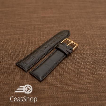 Curea piele vitel, model crocodil neagra captusita, lucioasa  20mm - 34824