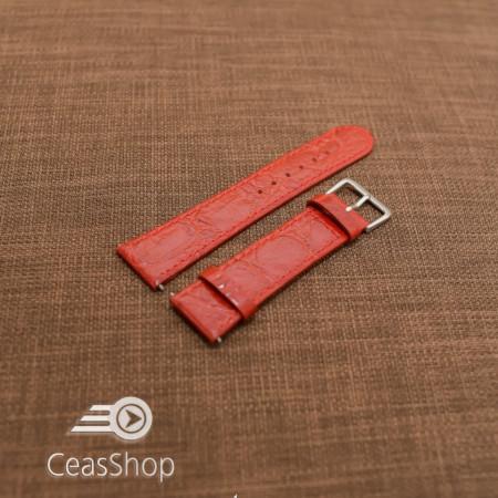 Curea piele vitel plata model crocodil Elegance rosie 16mm - 34494