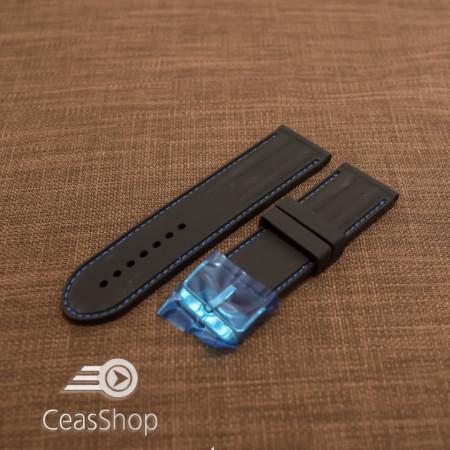 Curea silicon neagra cu cusaturi albastre 26mm - 38246