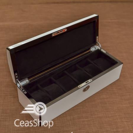 Cutie pastrare ceasuri lemn pentru 6 ceasuri model Frost alba