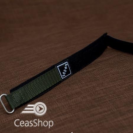 Curea din tesatura de nylon neagra cu verde sport cu arici 20mm - 37032