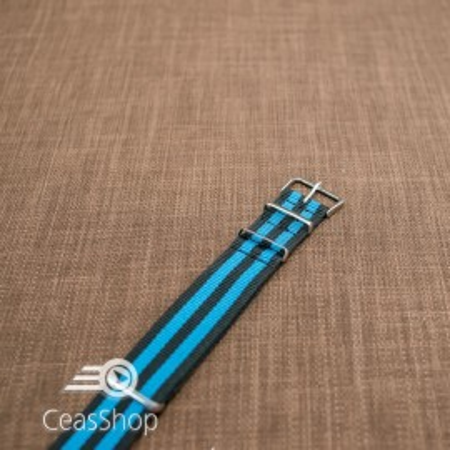 Curea NATO negru cu albastru 22mm - 36518