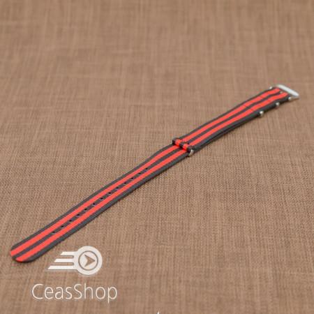 Curea NATO rosu/negru 20mm - 36526