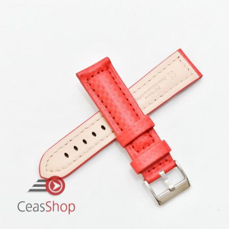 Curea piele tip fibra carbon roșie, căptușită 22mm - 374226