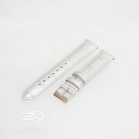 Curea piele vitel argintie crocodil cu catarama argintie 12mm - 51314