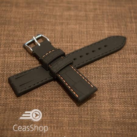 Curea silicon model crocodil neagră cusătură portocalie 20mm - 45896