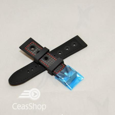Curea silicon sport GRAND PRIX neagra cusaturi rosii 20mm - 38132