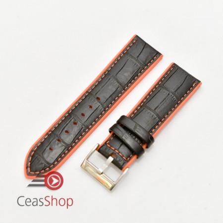 Curea hibrid silicon si piele model crocodil neagra cu portocaliu 22mm - 4205622