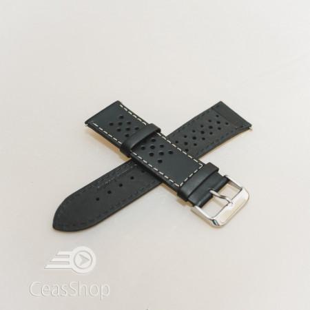 Curea model olimpic perforata neagra cu alb 20mm - 51502