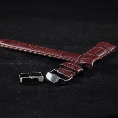 Curea piele capat curbat maro inchis 20mm - 38237
