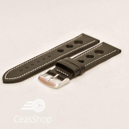 Curea piele GRAND PRIX neagra cusaturi albe 20mm - 36997