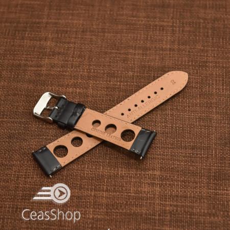 Curea piele lină, căptușită GRAND PRIX neagră, cusaturi albe 22mm - 46319