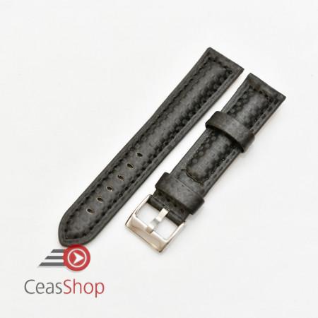 Curea piele tip fibra carbon neagră, cusătură neagră, căptușită 22mm - 3742211