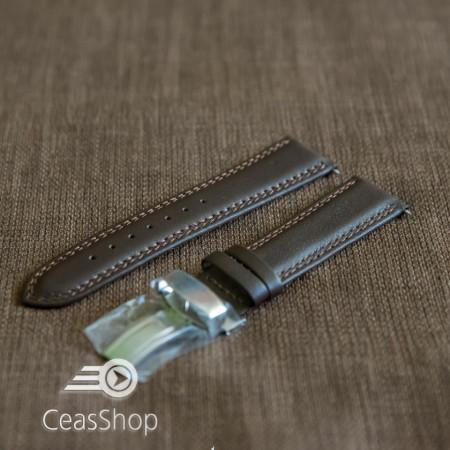 Curea piele vitel captusita deployant simplu maro inchis 20mm - 42869