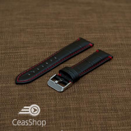 Curea piele vitel model crocodil cusaturi rosii 24mm- 38079