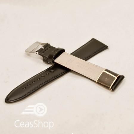 Curea piele vitel neagra lucioasa cu catarama argintie XL 20mm - 20434