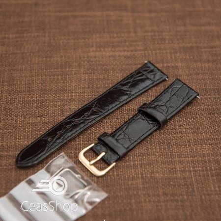 Curea piele vitel plata model crocodil Elegance neagră 20mm - 34469